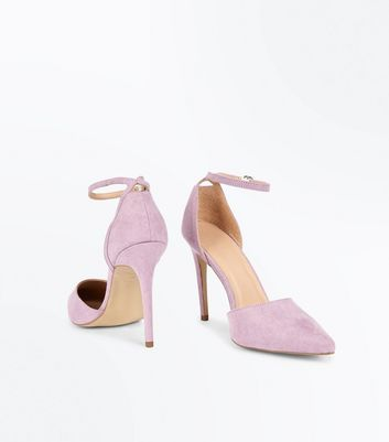 Lilac Suedette Keyhole Back Pointed Court Shoes New Look
