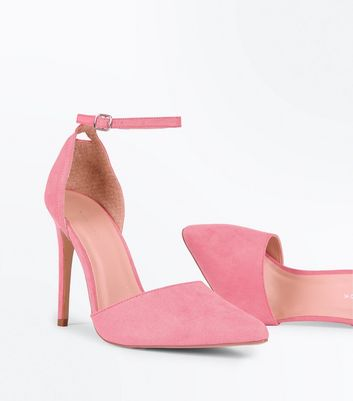 Bright Pink Suedette Keyhole Back Pointed Court Shoes New Look