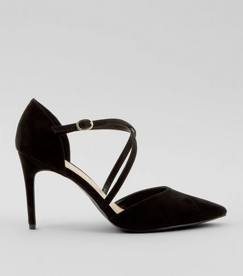 Black Suedette Cross Strap Pointed Heels New Look