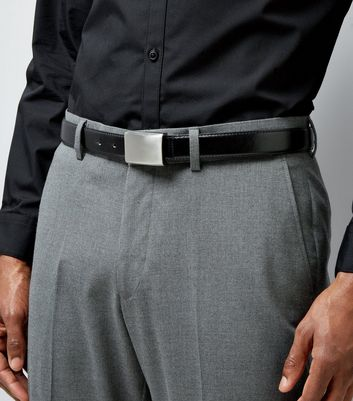 Black Plate Buckle Belt New Look