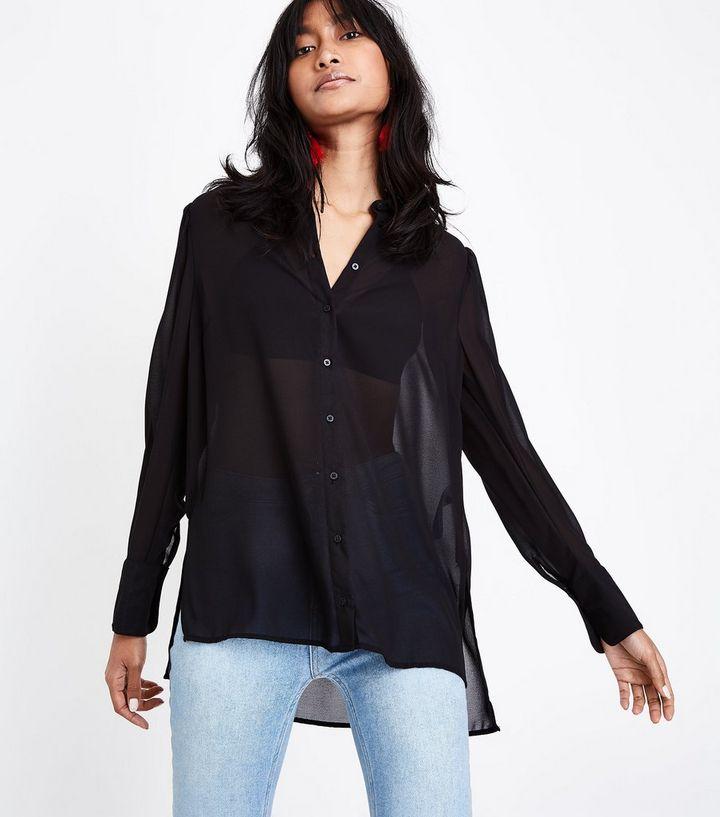 a75095a176d33c Black Chiffon Long Sleeve Shirt