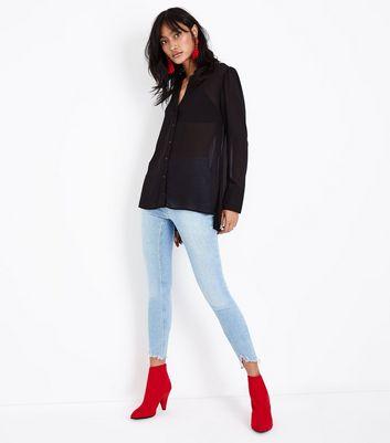 Black Chiffon Long Sleeve Shirt New Look