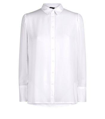 Grey Chiffon Long Sleeve Shirt New Look