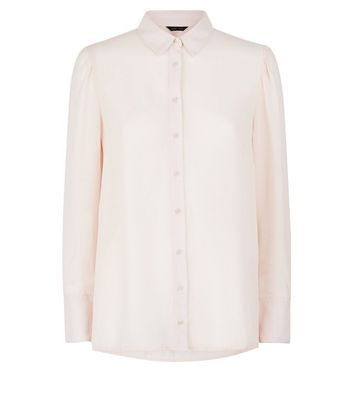 Shell Pink Chiffon Long Sleeve Shirt New Look