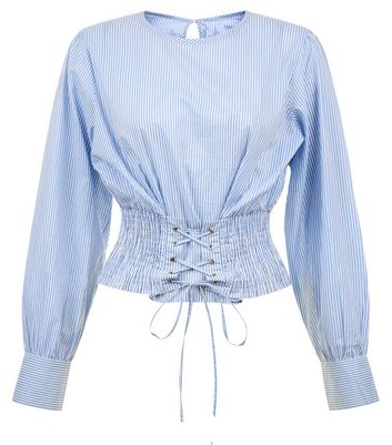 Blue Stripe Shirred Corset Crop Top New Look