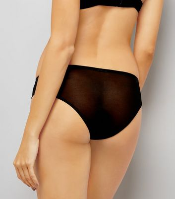 Black Plain Mesh High Leg Briefs New Look