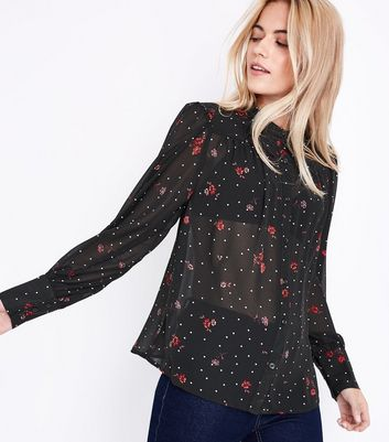Black Chiffon Floral Print Shirt New Look
