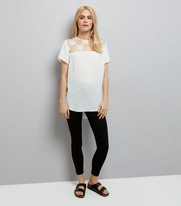White Mesh Floral Embroidered Panel T-Shirt New Look