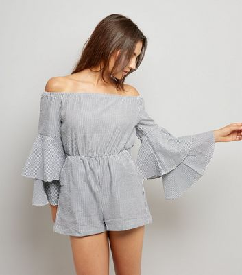 Black Stripe Frill Sleeve Bardot Neck Playsuit New Look