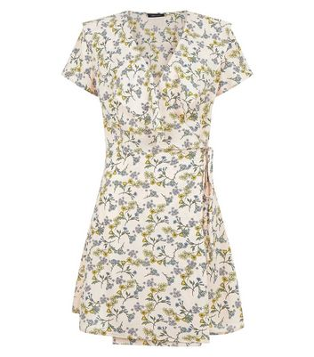 White Floral Print Frill Trim Wrap Front Dress New Look