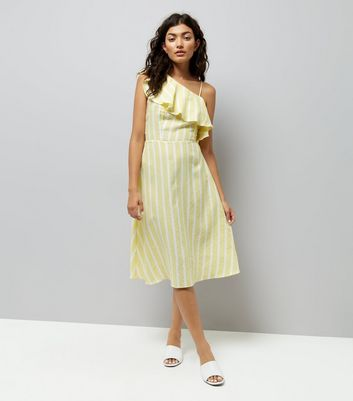 Yellow Stripe One Shoulder Frill Dress New Look