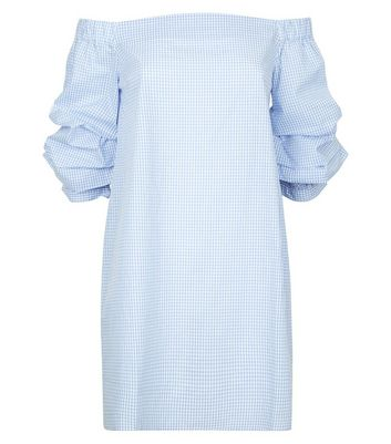 Blue Gingham Puff Sleeve Bardot Neck Dress New Look