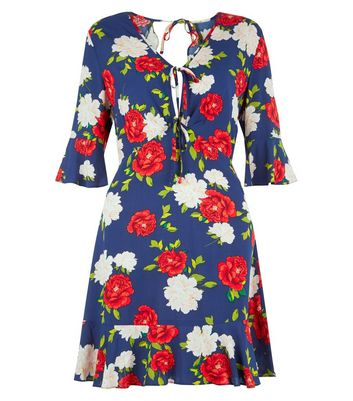 Navy Floral Print  Frill Trim Open Back Dress New Look