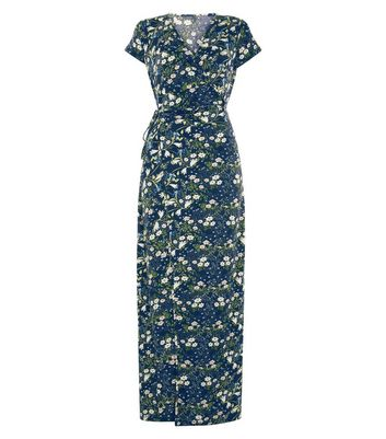 QED Navy Floral Print Wrap Front Maxi Dress New Look