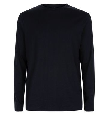 Black Long Sleeved Crew Neck T-Shirt New Look