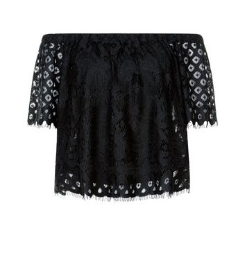 Black Lace Bardot Neck Top New Look