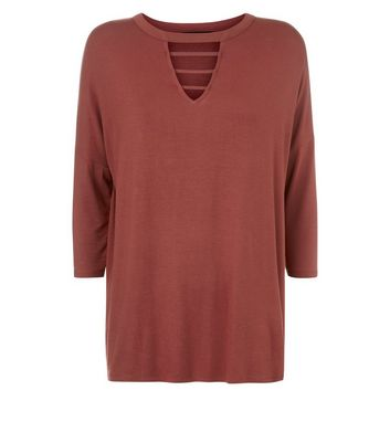 Brown Cut Out Neck T-Shirt New Look