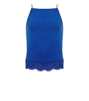 Teens Blue Crochet Hem High Neck Cami New Look