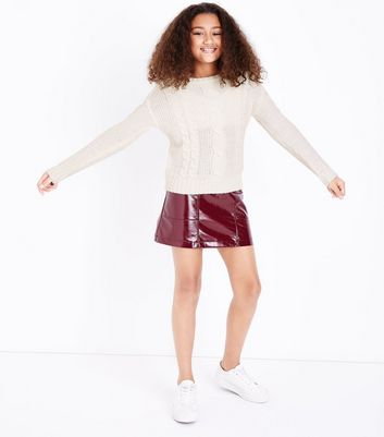 Teens Cream Cable Knit Jumper New Look