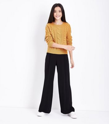 Teens Yellow Cable Knit Jumper New Look