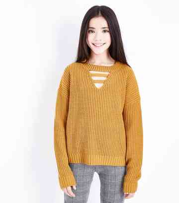 Girls Yellow Lattice Front Jumper