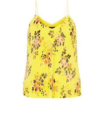 Yellow Floral Print Pleated Cami Top New Look