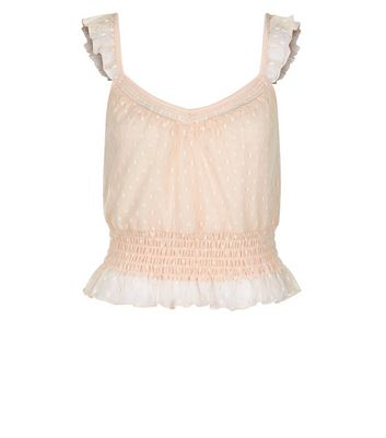 Pink Spot Mesh Frill Trim Crop Top New Look