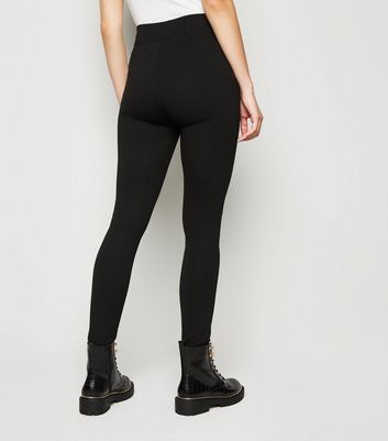 Black Side Zip Leggings New Look