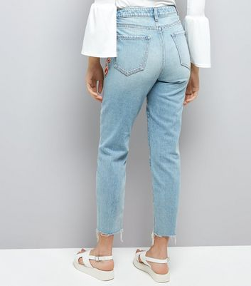 Pale Blue Floral Embroidered Raw Hem Tori Mom Jeans New Look