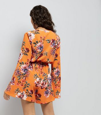 Tall Orange Floral Print Flared Sleeve Playsuit New Look