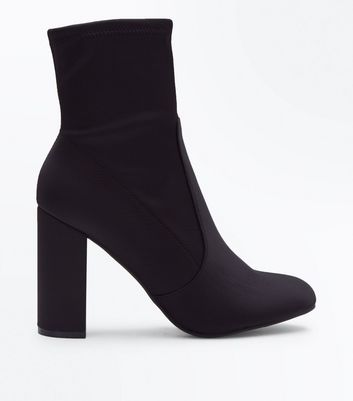Black Satin Block Heel Sock Boots