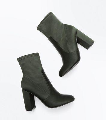 Khaki Satin Block Heel Sock Boots New Look