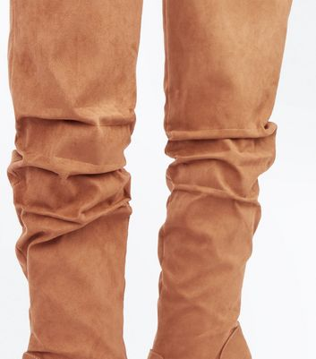 Tan Suedette Slouch Over the Knee Boots New Look