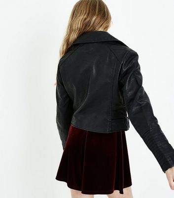 Teens Black Leather-Look Biker Jacket New Look