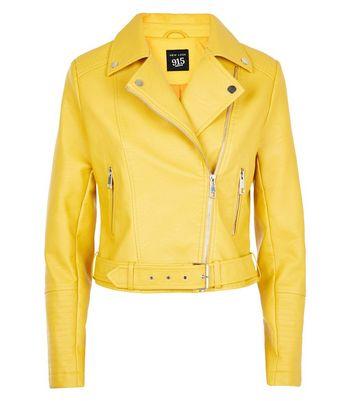 Teens Yellow Leather-Look Biker Jacket New Look