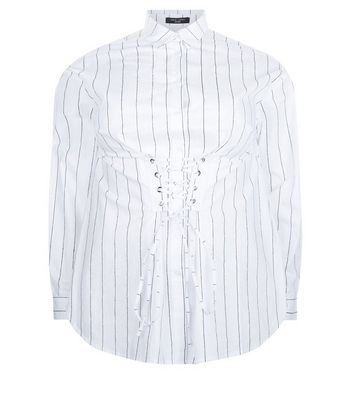 Curves White Stripe Corset Shirt New Look