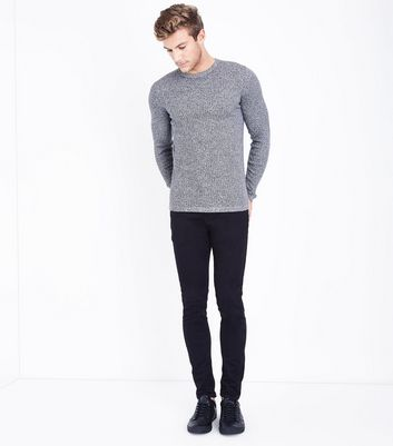 Black Cotton Ribbed Jumper New Look