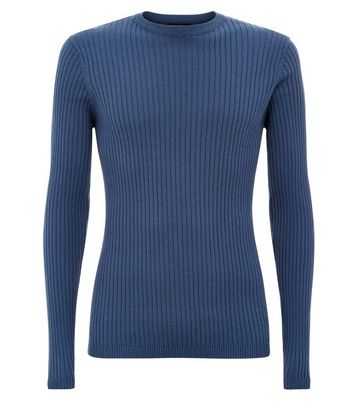 Blue Cotton Ribbed Jumper New Look
