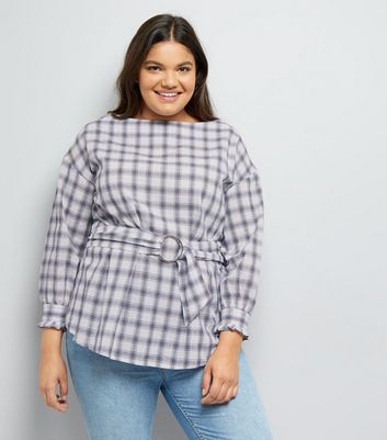 Curves White Check Waist Belt Top New Look