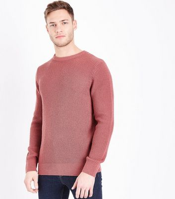 Plum Textured Crew Neck Jumper