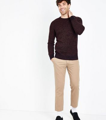 Burgundy Crew Neck Textured Jumper New Look