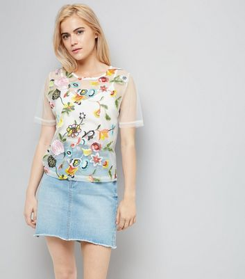 Cream Floral Embroidered Mesh Top And Cami New Look