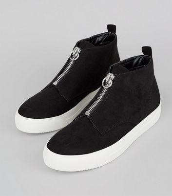Black Zip High Top Suedette Trainers New Look