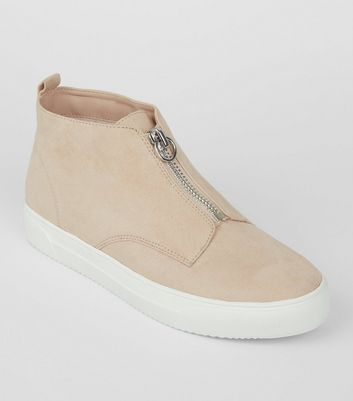 Cream Zip High Top Suedette Trainers New Look