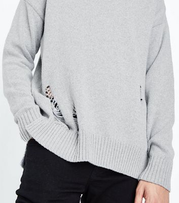 Grey Ripped Longline Crew Neck Jumper New Look