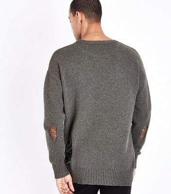 Olive Ripped Longline Crew Neck Jumper New Look