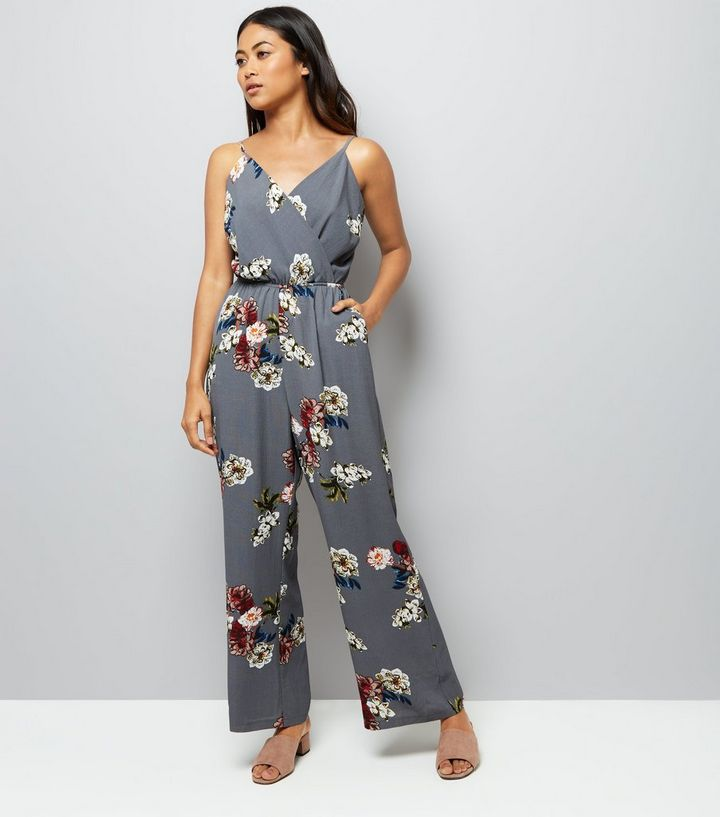 exclusive deals beautiful style baby Petite Grey Floral Print Wrap Front Jumpsuit Add to Saved Items Remove from  Saved Items