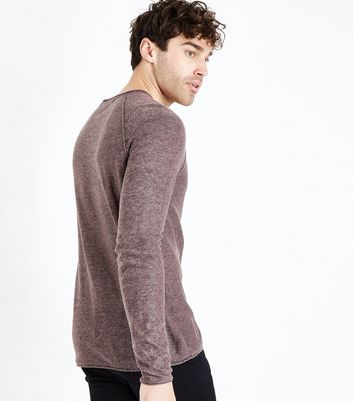 Burgundy Stitch Trim Jumper New Look