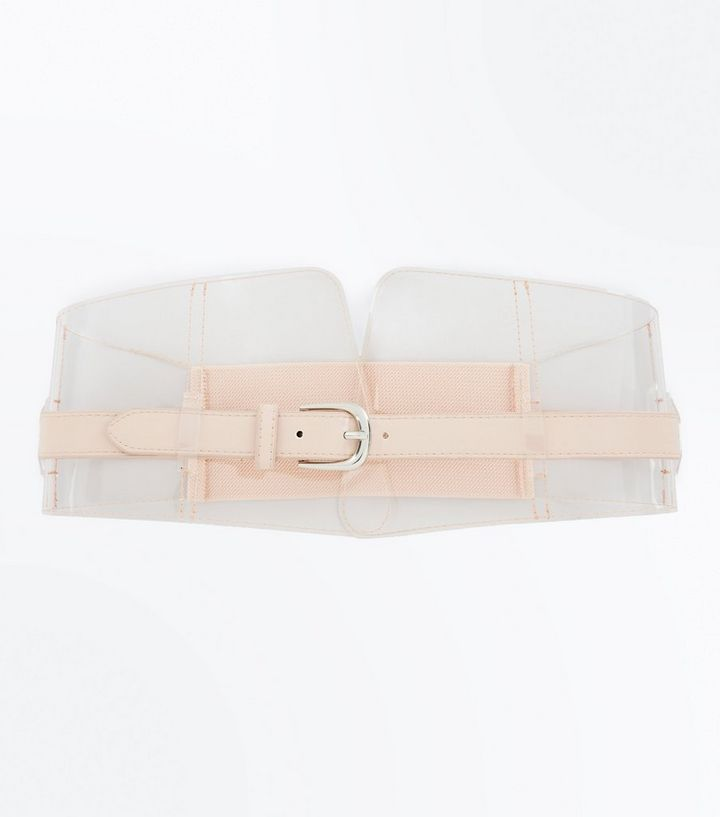 e6cd71ee9d Clear Nude Pink Buckle Front Corset Belt