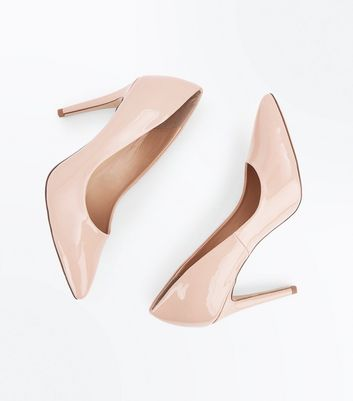 Nude Patent Pointed Court Shoes New Look